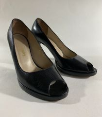 Russell & Bromley Black Leather Peep Toe Court Shoes UK Size 4.5 EU 37.5