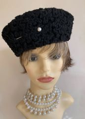 Black Faux Astrakhan Russian Cossack Style Hat With Hat Pin Black Fabric Lining