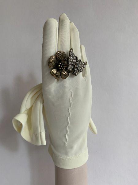 Vintage 1960s Nylon Ivory Dress Gloves Wedding Church Bridal Evening Size 7