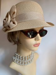 Cloche 1930s Style Natural Cream Hat 100% Paper Ribbon And Rosette Detail Church Casual