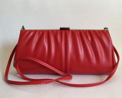 Red Vintage 1970s Faux Leather Clutch Shoulder Bag Removable Shoulder Strap..