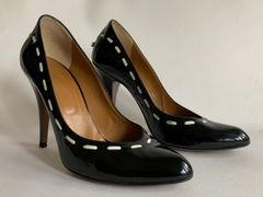 "HOBBS Black Patent Leather Almond Toe 4"" Stiletto Heel Court Shoe Size UK 4.5 EU 37.5"