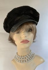 Patricia Underwood Vintage 1960s Carnaby Street Style Black Faux Beaver Fur And Leather Peak Cap