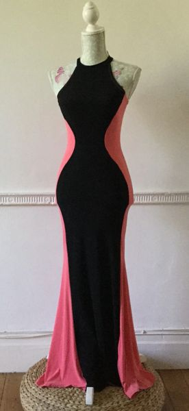 Young Blood Long Sleeveless Apricot Black Colour Block Sexy Summer Dress Size 10