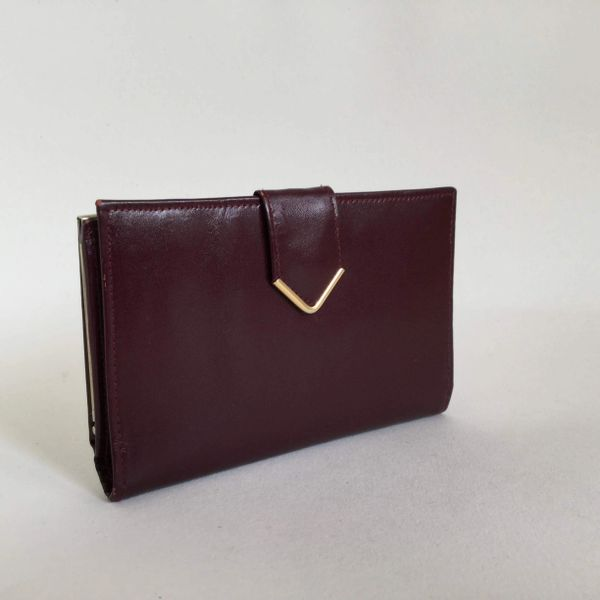 Vintage 1980s Burgundy Smooth Leather Coin Purse Wallet Leather Lining