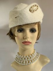 BHS Millinery Vintage 1960s Ivory Angora Knit Capulet Hat With Pleat Detail Satin Lining