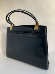 Black Calf Leather 1960s Vintage Handbag Green Leather Lining & Brass Fittings