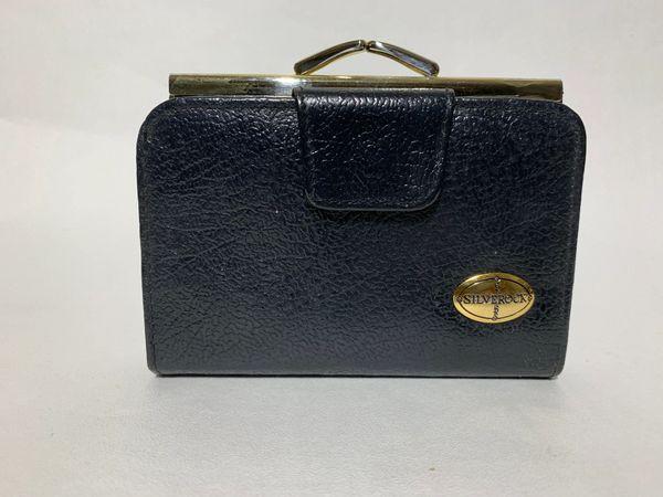 Silverock Black Leather Vintage 1980s Purse Wallet Black Leather & Fabric Lining