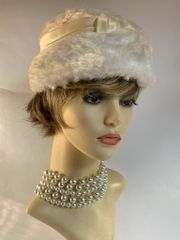 Vintage 1940s Ivory Faux Fur Calot Hat Fully Lined Ribbon Detail