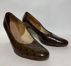 "Miss Holmes Vintage 1970s Court Shoe Brown Faux Ostrich Leather 3.5"" Slim Heel UK 6 EU 38 - vintage size 75C"