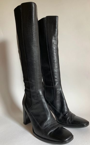 Hobbs Black Leather Pull On High Heel Boots With Elasticated Sides Size UK 5 EU 38