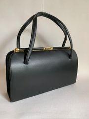 Black Large Faux Leather 1960s Vintage Handbag With Black Fabric Lining