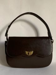 Vintage 1970s Brown Synthetic Handbag Shoulder Bag Light Brown Fabric Lining.