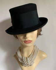 Black Small Brim Hi Top Felt Hat With Wide Petersham Ribbon & Bow Detail Funeral