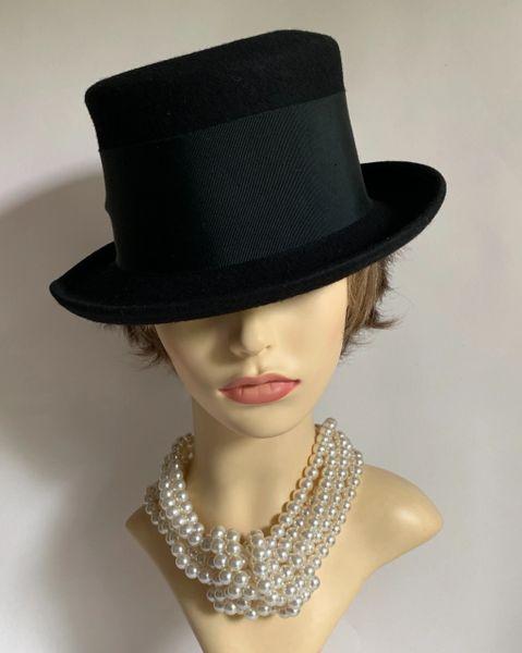Black Small Brim Hi Top Felt Hat With Wide Petersham Ribbon & Bow Detail Funeral