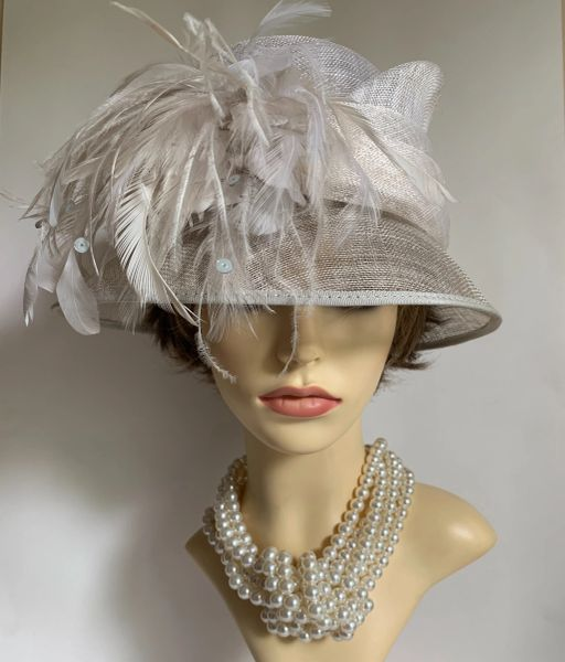 HAT BOX Ivory Asymmetrical Natural Fibres Hat With Feather Side Detailing