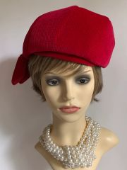 KANGOL Red Vintage 1960s Cotton Velvet Beret Turban Hat With Lamb Ear Shaped Hanging Tassels