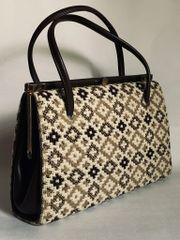 Vintage 1960s Handbag Beige & Brown Welsh Tweed Wool With Brown Fabric Lining