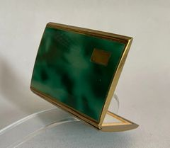 Vintage 1950s Green Enamelled Rectangular Brass Powder Compact With Original Sifter & Bevelled Mirror