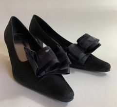 Black Satin Bow Front Pointed Toe Court Shoe Wedding Evening Size UK 4 EU 37