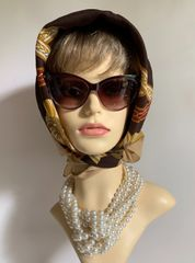 "Well Loved Vintage 1970s Brown Epaulet & Chain Pattern 31"" Polyester Head Scarf Stitch Edge"