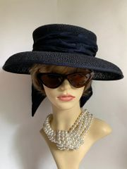 British Home Stores BHS Dark Blue Dress Straw Hat With Polyester Pattern Bow