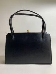 Vintage 1950s Black Textured Leather Handbag With Black Satin Lining