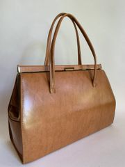 St Michael 1960s Vintage Tan Synthetic Large Handbag With Fabric Lining