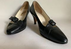 "Patina Black Leather And Lizard Slim 2.75"" Heel Almond Toe Court Shoes Size UK 5 EU 38."