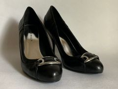 "Karen Millen Black Leather Stiletto 3.5"" Heel Round Toe Court Shoes"