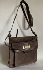Oasis Mink Brown Suede & Leather Adjustable Shoulder Bag With Brown Fabric Lining
