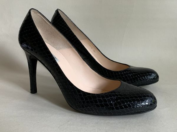 "L.K.Bennett Shilo Black All Leather Snake Effect Court Shoe 4"" Slim Heels Size UK 5.5 EU 38.5"