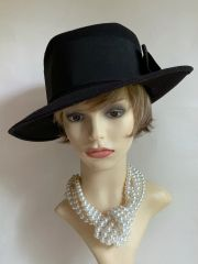 Herald & Heart Black Wool Felt Wide Brim Hat With Wide Petershan Ribbon Detail Trilby Fedora