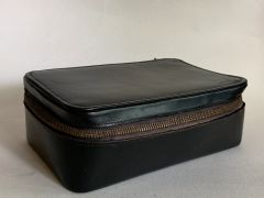 Vintage 1950s Black Leather Men's Vanity Case With Mustard Yellow Lining