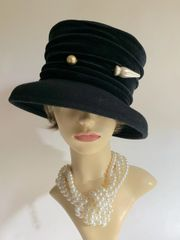 Black Wool Felt Front Brim Hat With Black Scrunched Velvet Ribbon Decoration