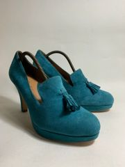 "Clarks Alma Kendra Turquoise Suede 3.5"" Heel Tassel Platform Court Shoe Size UK 5 EU 38"