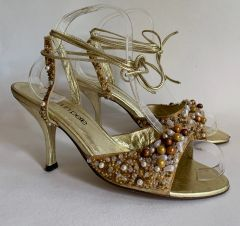 Moda In Pelle Gold Beaded Fabric Peep Toe Ankle Strap Sandal Shoes With 3.75 inch stiletto heels. Size UK 5