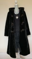 ENGLISH LADY 1960s Vintage Faux Fur Brown Loose Fit Duffle Style Coat UK 12 -14