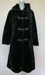 ENGLISH LADY 1960s Vintage Faux Fur Brown Hooded Front Frogging Loose Fit Coat