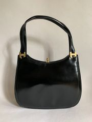 Debonair 1960s Vintage Handbag Black Leather With Cream Suede Lining