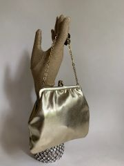 Vintage 1960s Gold Faux Leather Small Evening Bag Chain Strap Ivory Lining