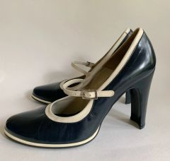 "Ravel Vintage 1980s Blue Leather Mary Jane Round Toe 4"" Block Heel Shoes UK 6"