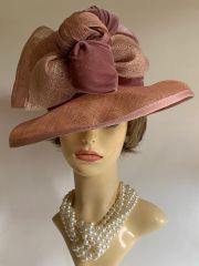 Cotton Velvet & Abaca Rose And Dusty Pink Wedding Church Dress Hat With Large Bow & Knot Detail
