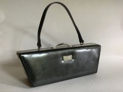 Ruby London 1990s Metallic Black Synthetic Angular Vintage Style Handbag Fabric Lining.