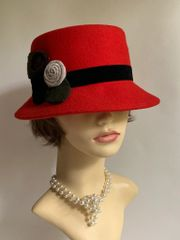 Red Small Brim Felt Cloche Hat With Black Felt Ribbon And Floral Decoration