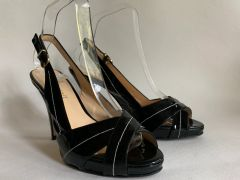 L.K.Bennett Black Patent Leather Slingback Peep Toe Slim High Heel Shoe UK 4 EU 37