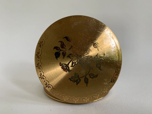 Brass Toned Round Acid Etched Floral Design Cream Powder Compact Circa 1960s