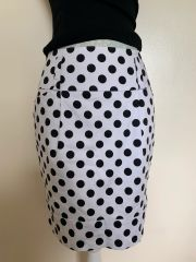 Papaya White Spotted Cotton Elastane Mini Wiggle Skirt Size 10 .