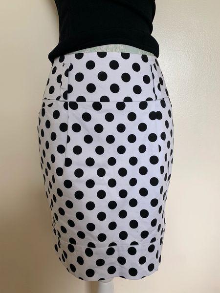 Papaya White Spotted Cotton Elastane Mini Wiggle Skirt Size 10 .
