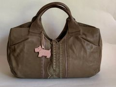 RADLEY Mushroom Brown Leather Tote Bag Handbag With Pink Leather Dog Tag.
